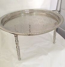 New Moroccan Handmade 22 In Serving Brass Tea Tray Table W 3 Legs Silver African