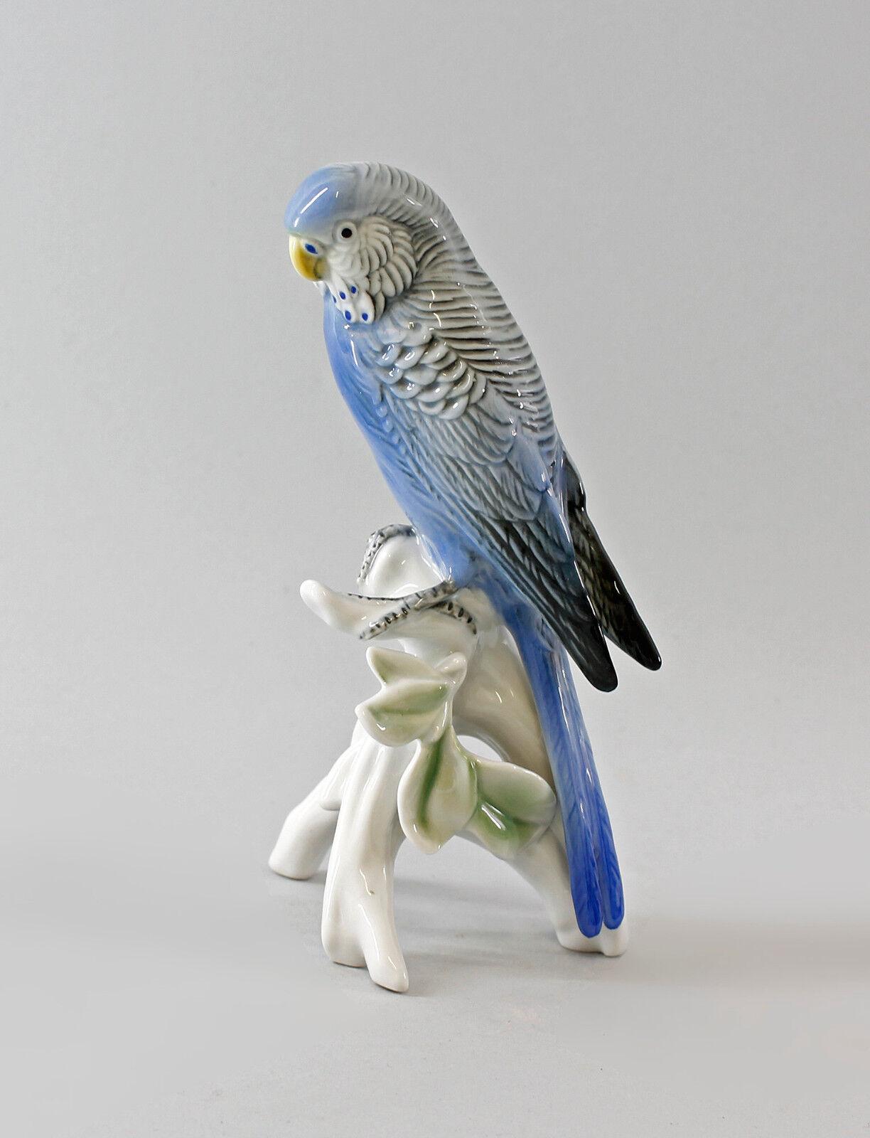 9987710 porcelana figura periquito azul-gris ens h17cm