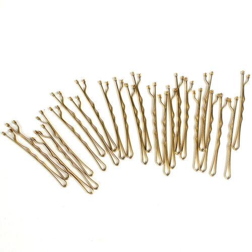 Summer Hairpins Lot 24X Hair Waved Bobby Pin Barrette Hair Pin Gold Side Folder