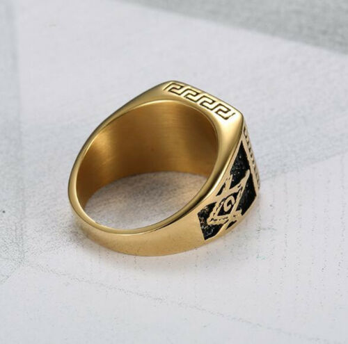 Square Black Onyx Mens Stainless Steel Gold Wedding Ring Band Size 8-13 #RG10
