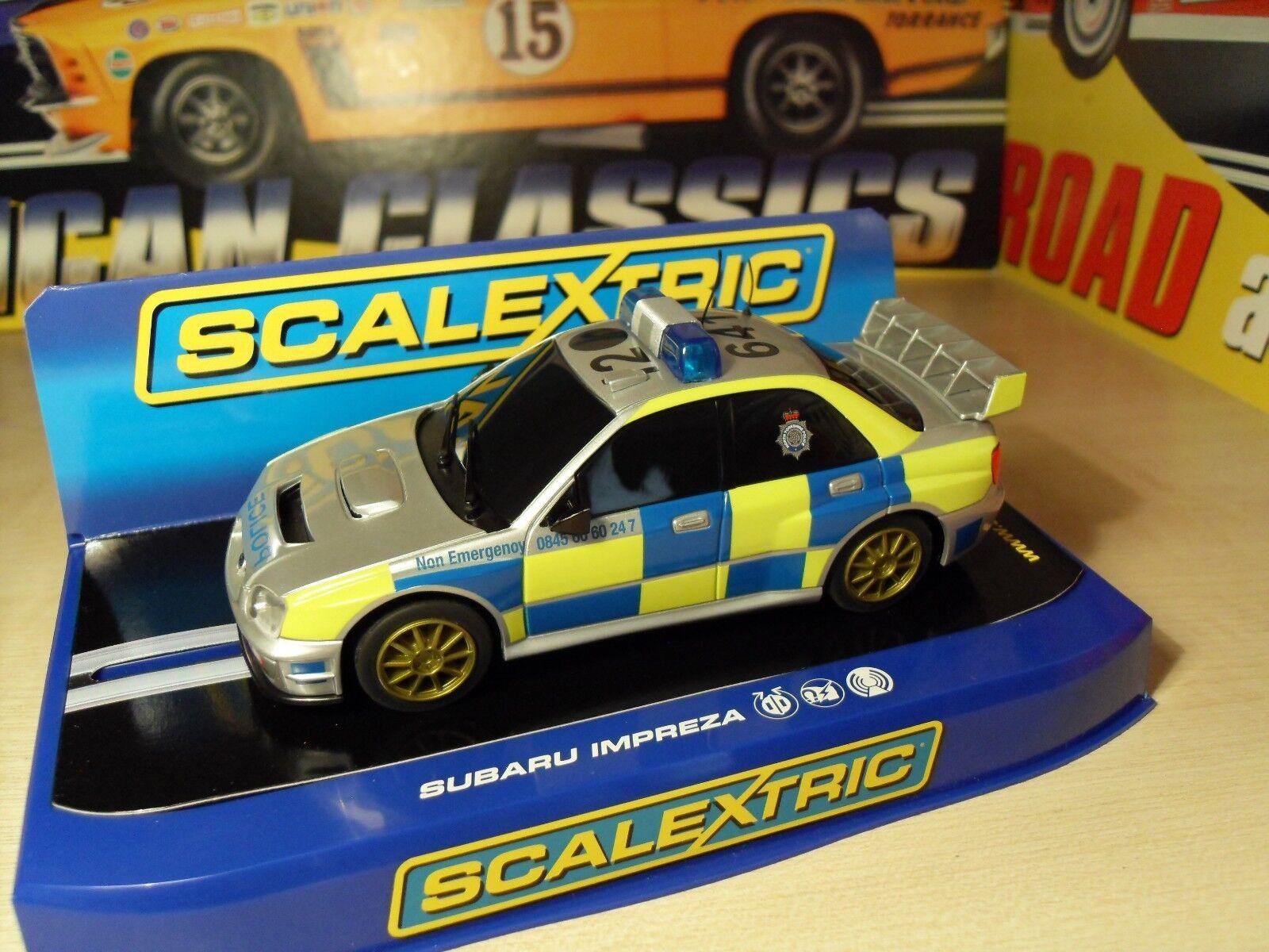 Scalextric C3068 Subaru policía-defecto de fábrica  ver Descripción  - Nuevo En Caja.
