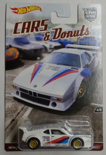 Hot Wheels Cars /& Donuts BMW M1 Procar New In Pack Real Riders Car Culture 1:64
