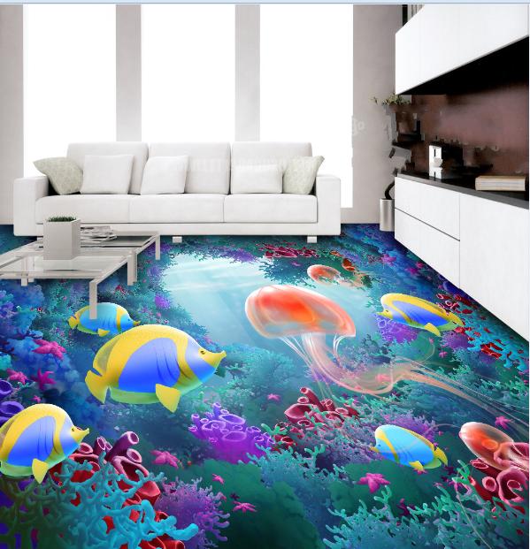 3D Jellyfish Coral Sea 8 Floor WallPaper Murals Wall Print Decal AJ WALLPAPER US