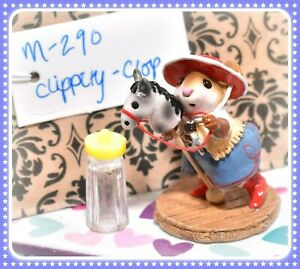 ❤️Wee Forest Folk M-290 Clippity-Clop Retired Red Blue Cowgirl Mouse Horse❤️