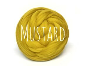 Details about Chunky Wool Yarn Mustard jumbo knit giant wool arm knitting extreme blanket