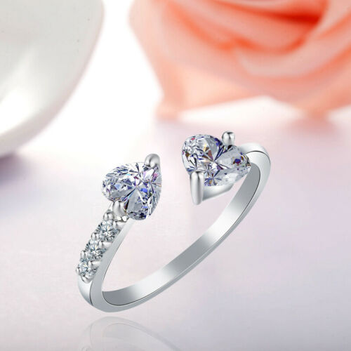 Double Heart Adjustable Ring 925 Sterling Silver Womens Girls Jewellery Gift Hot