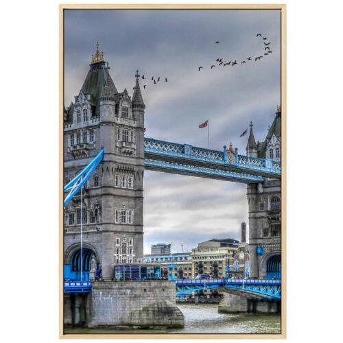 Vintage Blue London Bridge Lanscape Canvas Poster Picture Wall Home Art Decor