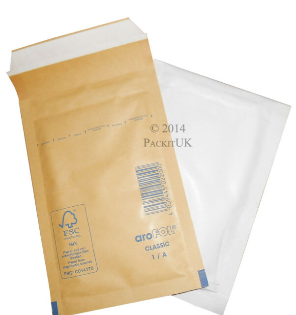 50 White Arofol AR01 A/000 Mailer Bubble Lined Bags FREE P&P 100mm x 165mm