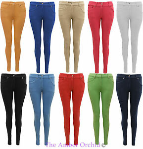 NEW LADIES COLOURED SKINNY JEANS STRETCH WOMENS JEGGINGS TROUSERS ...