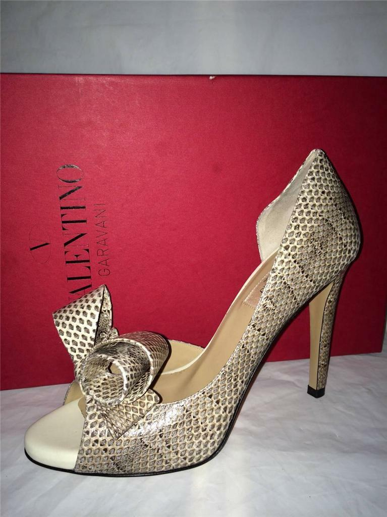 Valentino Couture Bow D'Orsay Open Toe Snake Leather Pumps Heels shoes 37  1345