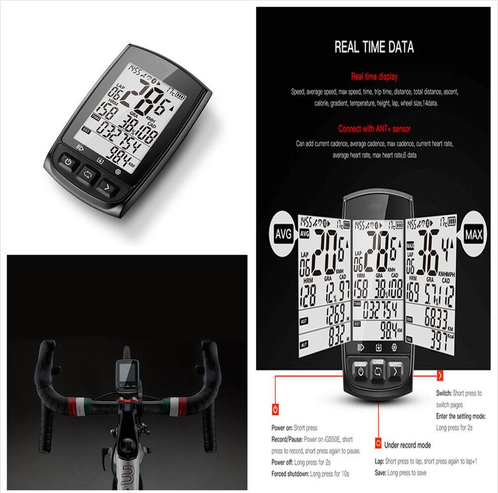 IGS50E GPS Cycling Computer Waterproof ANT+Wireless Speedometer+Mount S60 Set