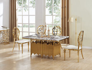 Elegant Stunning Aether Gold Dining Table Furniture With Marble Top