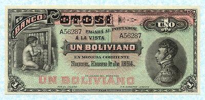 1962 1 Peso Boliviano L Bolivia P-158 UNC /> Primitive Combine Harvester