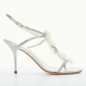 RENE-CAOVILLA-silver-leather-crystal-snowflake-embellished-fur-trim-heels-EU37