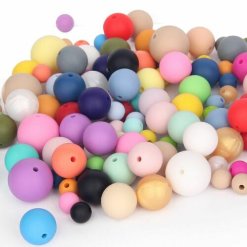 15mm Silicone Teething Loose Beads DIY Baby Chewable Jewelry Toys BPA Free Proof