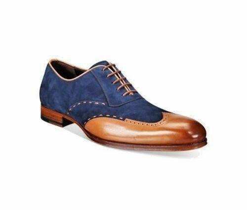 Zapatos De Vestir hecho a mano para hombres Zapatos Formales Cuero Tostado de dos tonos & azul Suede Formales
