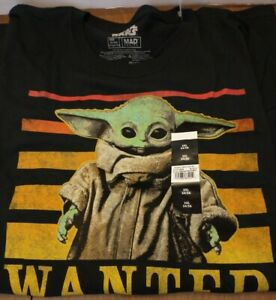The Mandalorian Wanted Baby Yoda Black Graphic T-Shirt ...