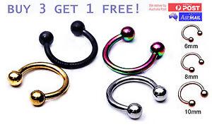 Horseshoe-Ring-Hoop-Ball-Awl-Bar-Cartilage-Septum-Helix-Tragus-Earring-Piercing