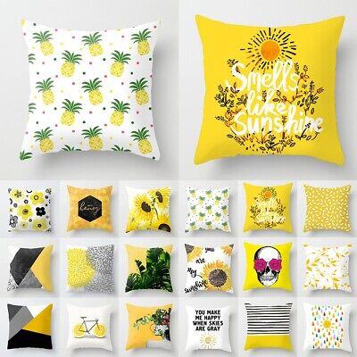 Yellow Cotton Linen Pillow Case Sofa Waist Throw Cushion Cover Home Decor