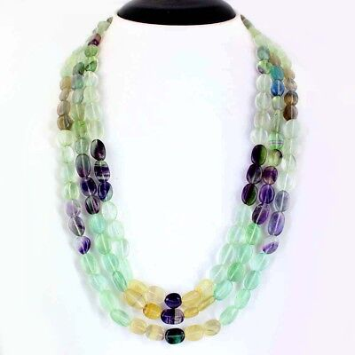 Exclusive 3 Strand 615.00 Cts Natural Multicolor Fluorite Oval Beads Necklace