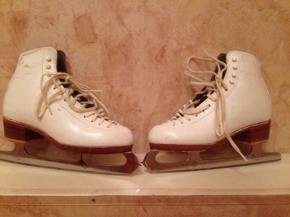 Pre-owned Riedell 292 Girls S s Boots  and Professional Blades WHITE 4 B A  choose your favorite
