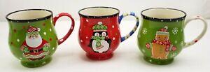 Temp-tations by Tara Christmas Mugs Santa Penguin Gingerbread Man New Set Of 3