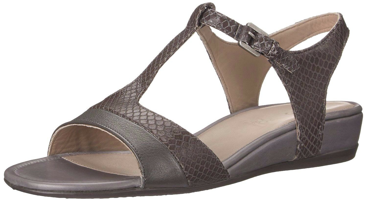 ECCO donna TOUCH 25 S SANDALS Snakeprint Ankle Strap Leather grigio EU 40,US 9-9.5