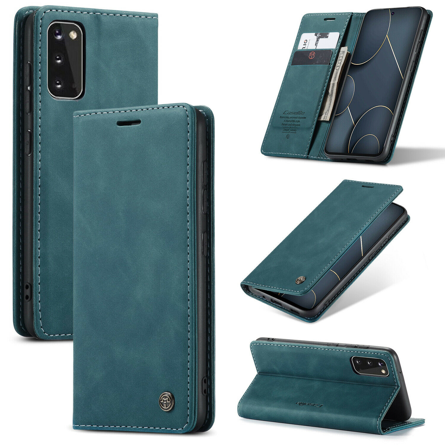 Soft Blue PU Leather Wallet Cover Flip Case for Samsung Galaxy S20 Plus S20+ Compatible with Samsung Galaxy S20 Plus S20+