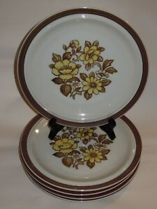 5-Sierra-Stoneware-10-1-4-034-Dinner-Plates-Brown-Yellow-Floral-Blossoms-Japan