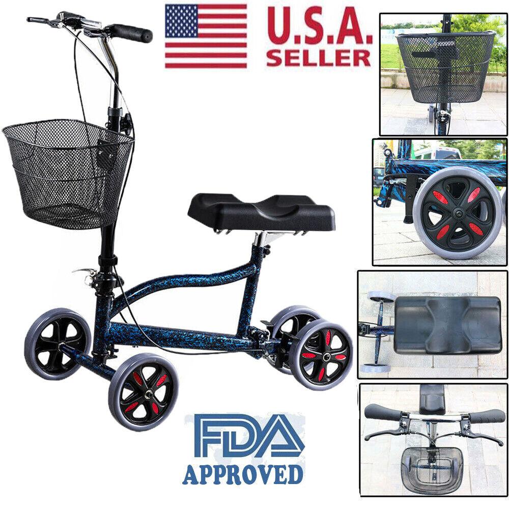 Steerable Foldable Knee Walker Scooter Medical Crutch Turnin