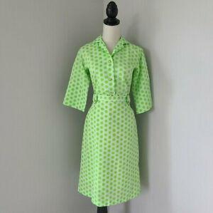 Vintage-50s-60s-MOD-Vintage-Lime-Polka-Dot-2-Piece-Top-amp-Skirt-Set-Small-MCM