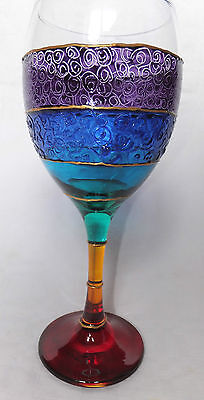 Over the Rainbow Wine Glass Gift Hippy Boho Stained Glass