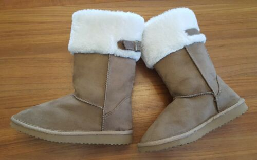 NWT Old Navy Girls 13 2 3 Cozy Faux Fur Cuff Winter Fashion Boots TAN New #28618