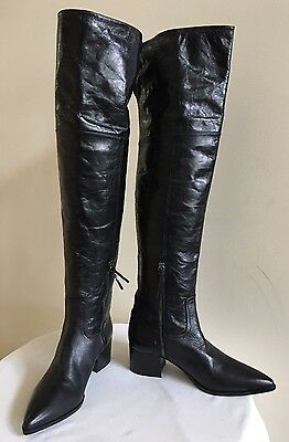 New w/o Box MIU MIU Black Leather Over-the-Knee Boots Shoes Size 39.5 / US 9.5