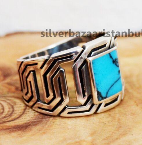 Hecho A Mano Piedra Turquesa turca 925 Sterling Silver Anillo para hombre todos si̇ze