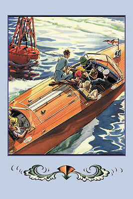 """Runabout 25 Footer Speed Boat Day On The Water Poster 20"""" x 30"""" Nautical Decor"""
