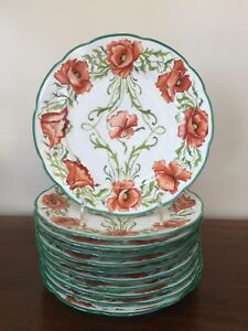 Image is loading Antique-Charles-Ahrenfeldt-Limoges-SAXE-Hand-Painted-POPPY- & Antique Charles Ahrenfeldt Limoges SAXE Hand-Painted POPPY PLATES ...