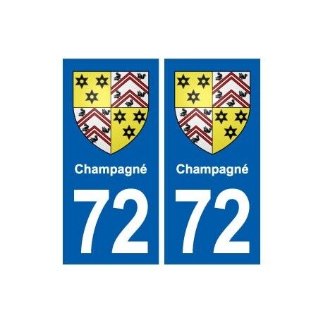 72 Champagné blason autocollant plaque stickers ville arrondis