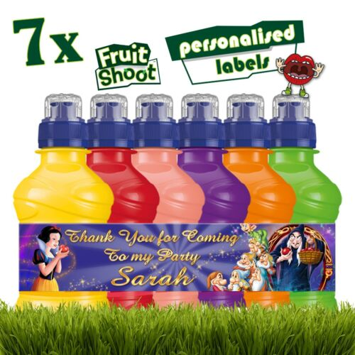 7 x Personalised Snow White /& The Seven Dwarfs Fruit Shoot Bottle Stickers Label