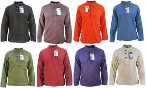 Plain-Men-039-s-Cotton-Full-Sleeve-Grandad-Collarless-Button-Light-Weight-Shirt-Tops