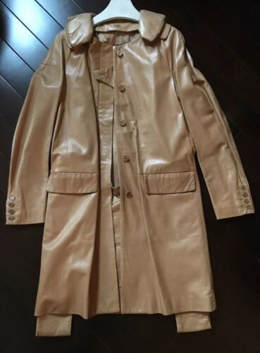 Helmut Lang Rare Vintage Lamb Skin Tan Leather Pillow Collar Coat 40 Masterpiece by Helmut Lang