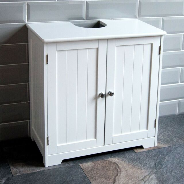 bathroom sink cabinets. White Under Sink Storage Unit Bathroom Cabinet Basin Shelf 2 Door Shelves  Wooden EBay