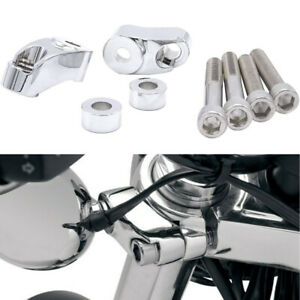 Chrome Front Turn Signal Relocation Kit Harley 39mm 49mm Sportster FXR FXD Dyna