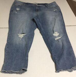 28d9ddaffe2 Image is loading Torrid-Skinny-Capris-26-Light-Wash-Distressed-Jeans-