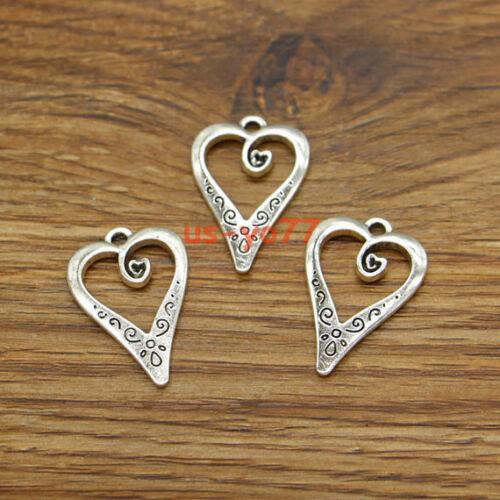 20 Heart Charm Valentines Wedding Love DIY Charms Antique Silver Tone 17x25 3463