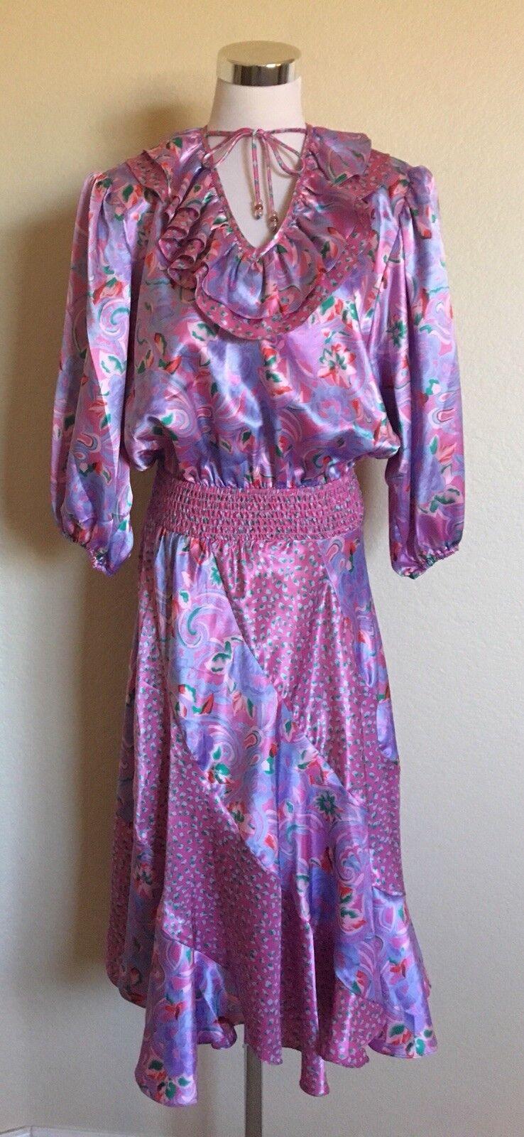 3a1f1a3803ee Susan Freis VINTAGE Pink Purple Floral Ruffle Boho Satin Dress Size Medium
