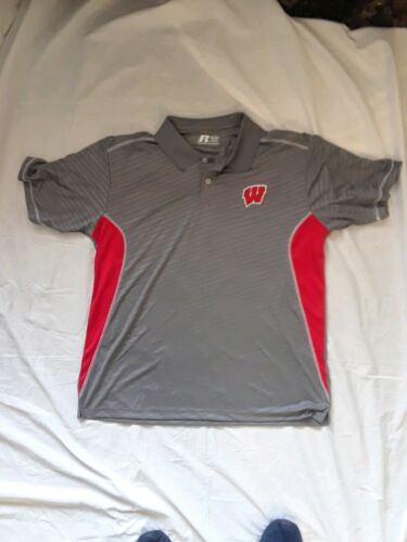 Russell Athletic Wisconsin Badgers Mens XL Polo Shirt Short Sleeve  New W//O Tag
