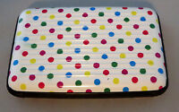 Polka Dots Aluminum Wallet Hard Metal Case Snaps Close Pink Blue White Blue
