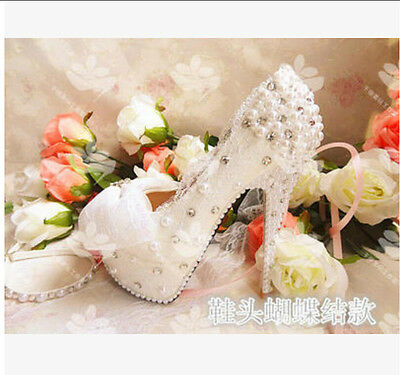 Womens platform pump pearl rhinestone wedding high heels lace bowknot bride shoe