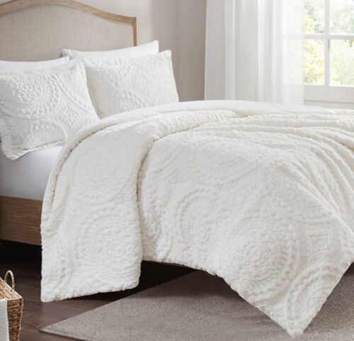 ULTRA PLUSH IVORY FAUX FUR COMFORTER SET : CREAM MINK MEDALLION SHAG LONG HAIR